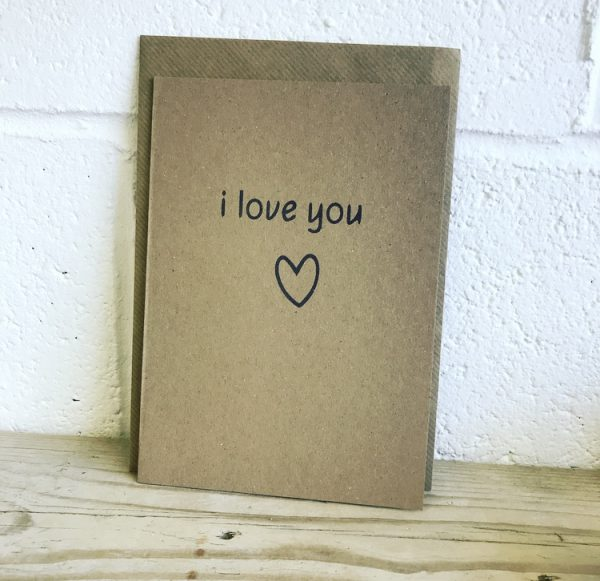 I love you recycled valentines day card